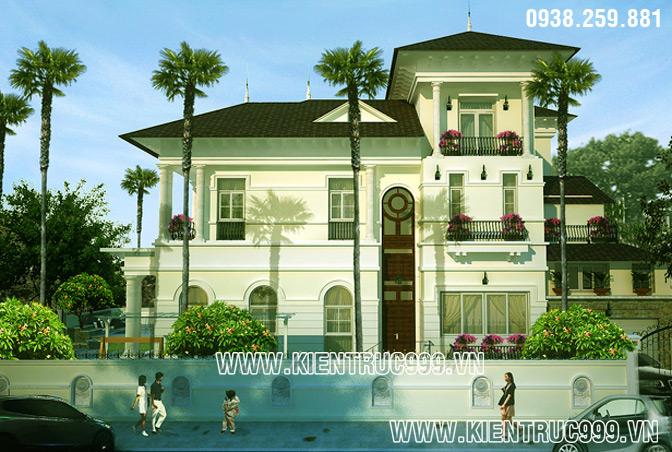 Mẫu biệt thự 2 tầng đẹp mang phong cách Pháp
