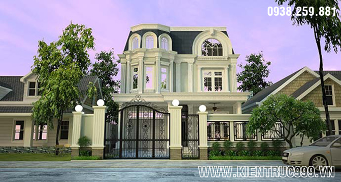 Mẫu biệt thự 2 tầng đẹp theo phong cách cổ điển Phương Tây, nha vuon 2 tang dep, thiet ke nha dep 2 tang