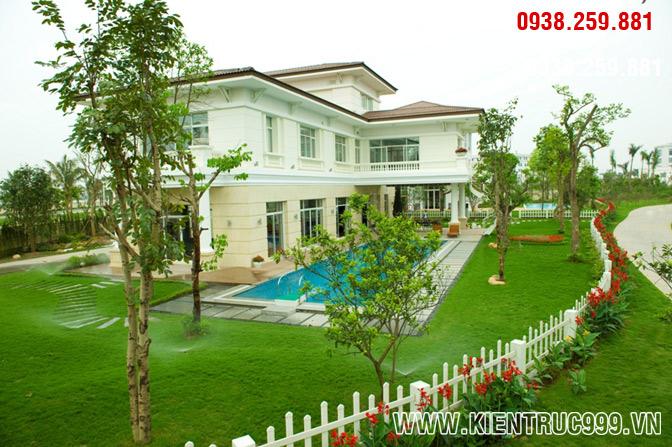 Mẫu biệt thự 2 tầng đẹp có sân vườn theo phong cách cổ điển Phương Tây, nha vuon 2 tang dep, biet thu vuon 2 tang.