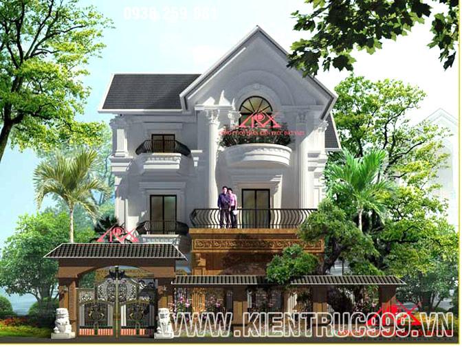 Mẫu biệt thự 2 tầng đẹp có sân vườn theo phong cách cổ điển Phương Tây.