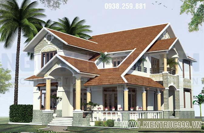 Mẫu biệt thự 2 tầng đẹp cao cấp phù hợp với khí hậu Việt Nam