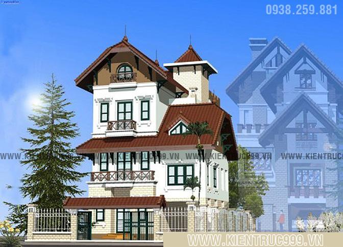 Thiết kế biệt thự cổ điển đẹp với hệ mái ngói cụp đầu quen thuộc của kiến trúc Pháp