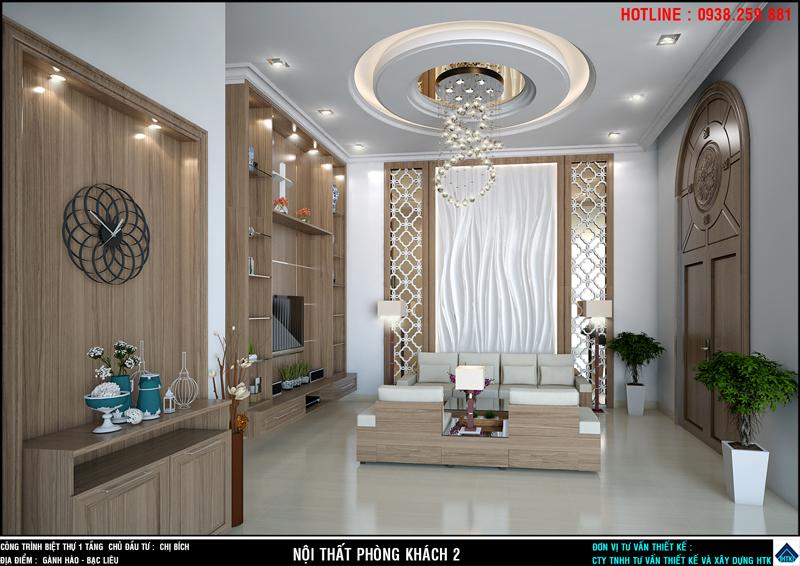 Phòng khách nhà đẹp 1 tầng ốp gạch vân 3D gợn sóng gợi nhớ những cơn sóng biển Gành Hào.