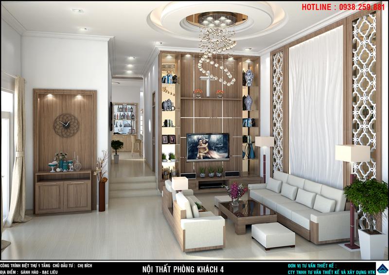 Nhà đẹp 1 tầng với thiết kế phòng khách nội thất gỗ chủ đạo