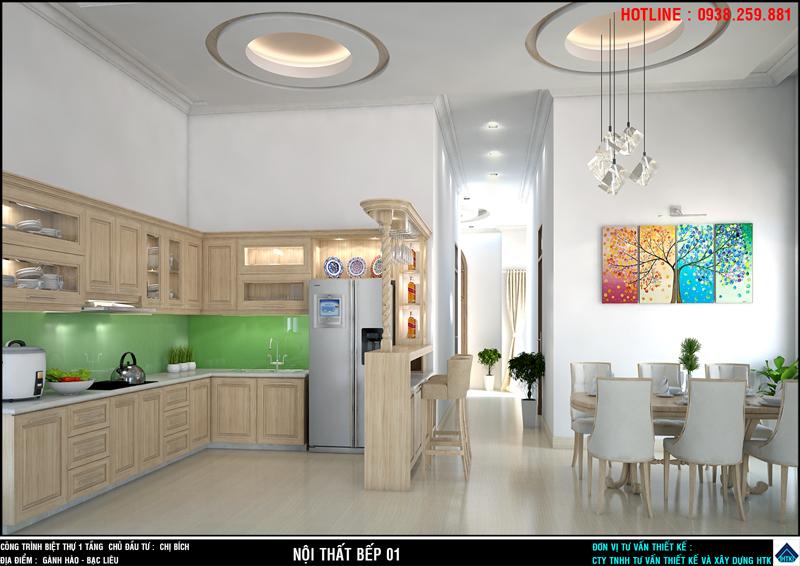 nội thất phòng bếp nhà đẹp 1 tầng với quay bar an tuong