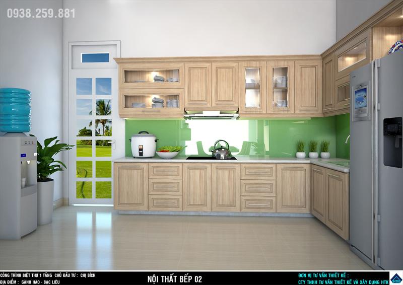 nhà đẹp 1 tầng Bạc liêu có nội thất phòng bếp được đầu tư trang trí cao cấp