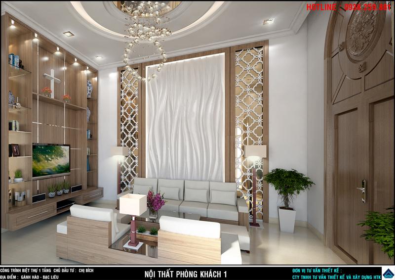 nhà đẹp 1 tầng có nội thất phòng khách có vách kệ tủ tivi cao từ sàn tới trần