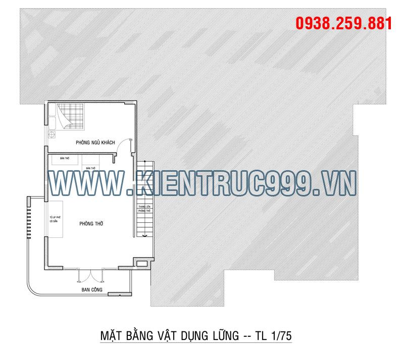Tầng lững có 1 phòng thờ lớn và phòng ngủ cho khách tới chơi nhà phía sau phòng thờ.