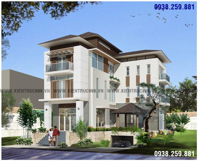 Mẫu biệt thự 3 tầng đẹp hiện đại với thiết kế chữ L phù hợp với lô đất mặt tiền rộng trên 9m