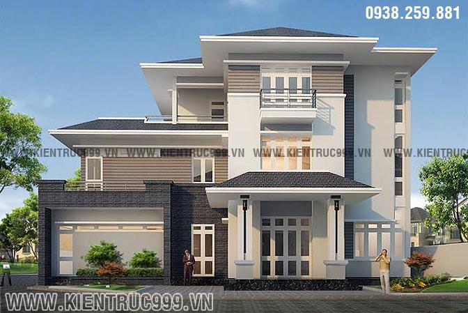 Biệt thự 3 tầng đẹp hiện đại với các đường nét ngay thẳng, tỉ lệ cân đối hài hòa