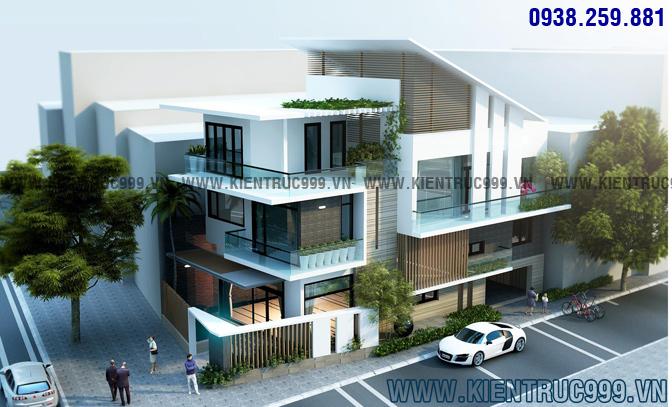 Thiết kế biệt thự 3 tầng đẹp theo phong cách hiện đại.