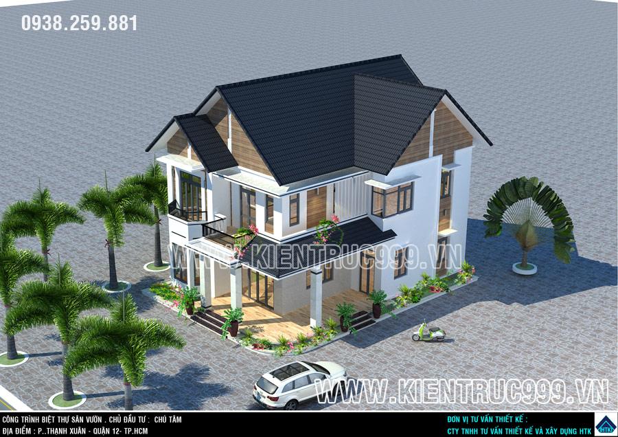 Nhà đẹp 2 tầng này có thiết kế mái ngói Thái phù hợp với khí hậu VN