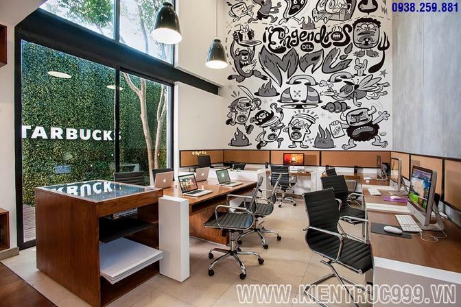 Thiết kế nội thất văn phòng xanh 1