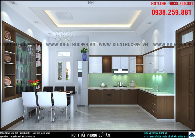 thiết kế phòng bếp hiện đại , màu sắc sáng đẹp