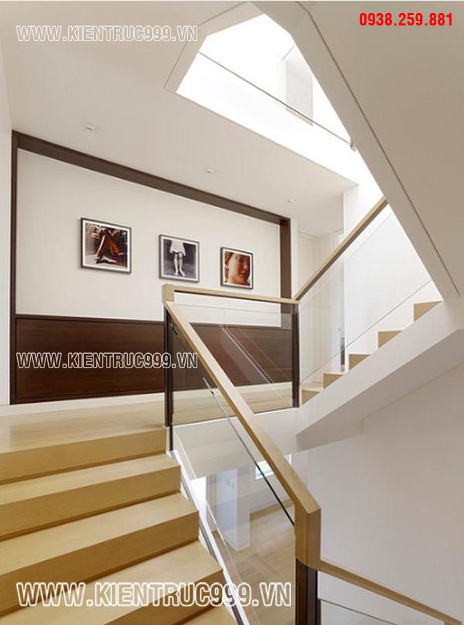 Chi tiết tang trí vách cầu thang nhà phố đẹp