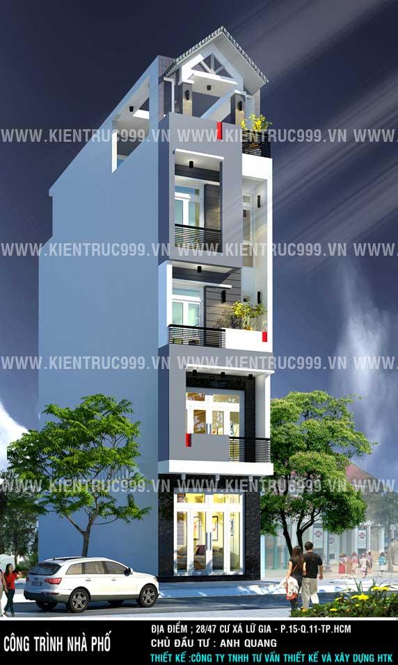 thiết kế nhà phố đẹp, nha pho 5 tang dep, nha pho lech tang dep, nha dep 5 tang, mat tien nha pho dep