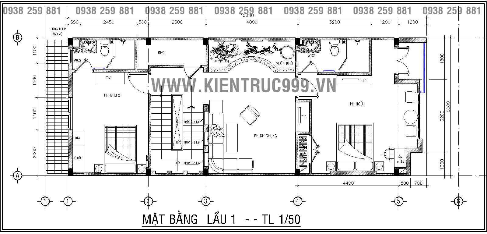 Thiết kế nhà phố đẹp với mặt bằng lầu 1