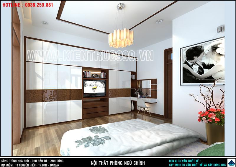 Phòng ngủ chính của gia chủ nổi bật với tủ quần áo âm tường dài gần 6m.