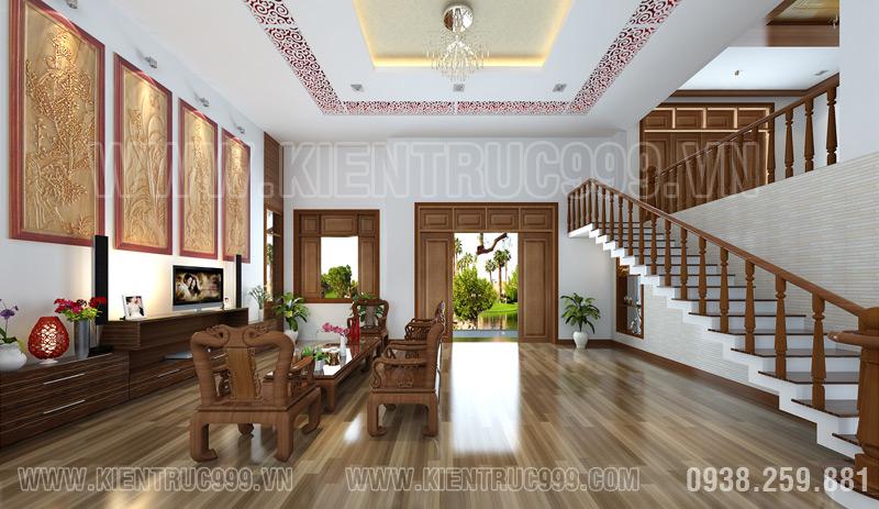 Biet thu dep 1 tang ở An Giang với thiết kế phòng khách toàn gỗ