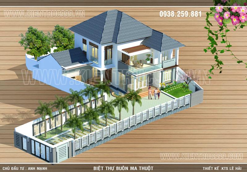 Biệt thự 2 tầng đẹp phía nam thành phố Buôn Mê Thuột với góc nhìn tổng thể.