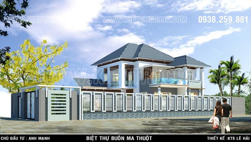 Biệt thự 2 tầng đẹp hài hòa với thiết kế kiến trúc cổng rào