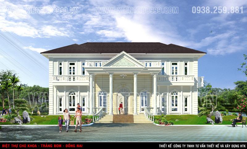 Thiết kế biệt thự cổ điển đẹp với tỉ lệ hài hòa , gờ chỉ sắc xảo, tỉ mỉ.