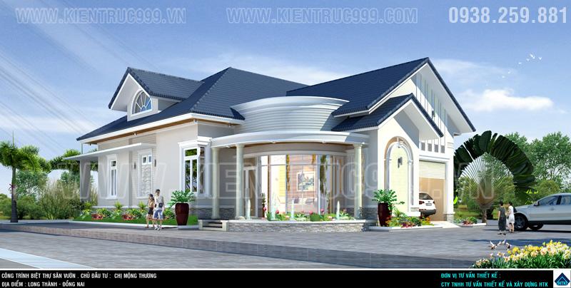 Biệt thự đẹp 1 tầng, nha vuon 1 tang dep, nha dep 1 tang o canh san bay long Thanh