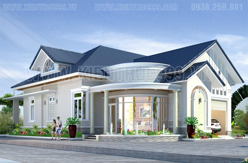 Biệt thự đẹp 1 tầng, nha vuon 1 tang dep, mau nha 1 tang dep o canh san bay long Thanh 2018