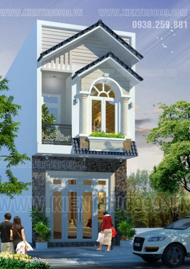 Thiết kế nhà phố 2 tầng mặt tiền 4m5 nhỏ xinh xinh.