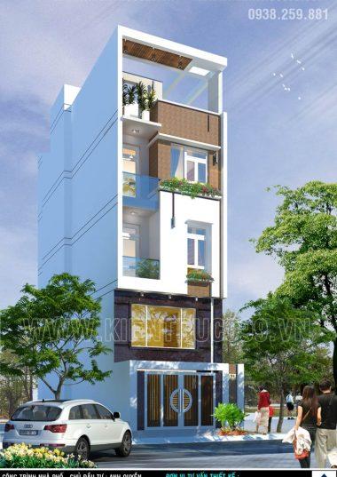 Mặt tiền nhà phố 5m đẹp- Thiết kế nhà phố 4 tầng hiện đại.
