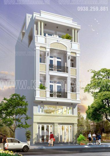 Thiết kế nhà phố đẹp 5 tầng - Nhà phố cổ điển 5 tầng đẹp
