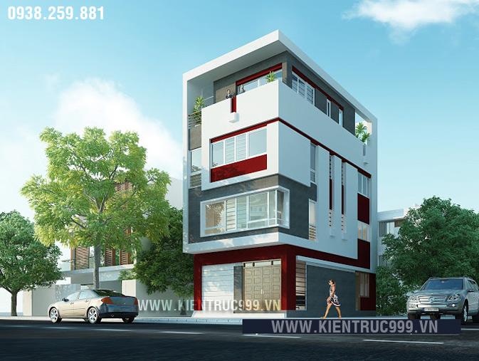 thiết kế nhà phố 4 tầng 2 mặt tiền có hình khối vuông vức lạ mắt