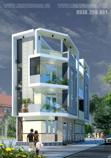 Thiết kế nhà phố 2 mặt tiền, 3 tầng đẹp - Tân Kỳ Tân Quý -Q.Tân Phú - TPHCM.