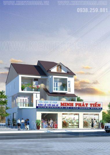 Thiết kế nhà phố 3 tầng đẹp kết hợp kinh doanh - Đức Hòa - Long An