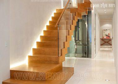Cầu thang đẹp xinh lung linh bởi ánh đèn led chiếu sáng