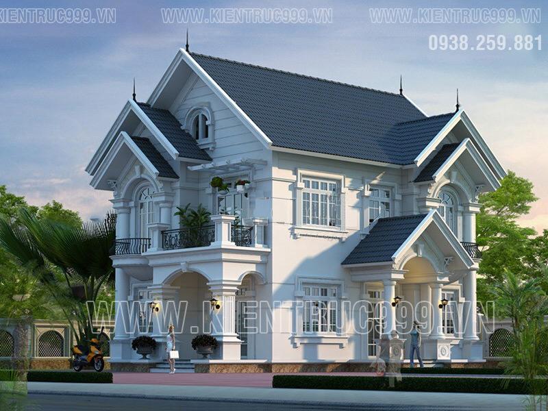 Biệt thự đẹp tân cổ điển 2 tầng này hòa trộn giữa nét đẹp Á Đông và nét đẹp cổ điển Pháp