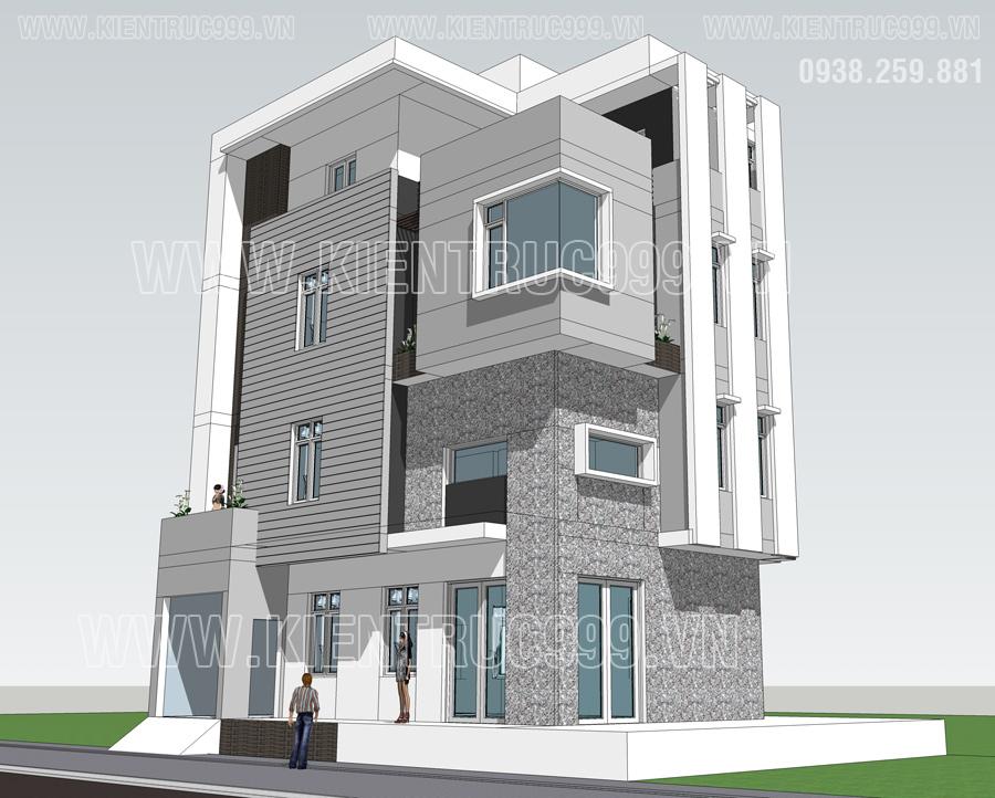 nhà đẹp 2 mặt tiền khoe vẻ đẹp góc cạnh, năng động và khỏe khoắn.