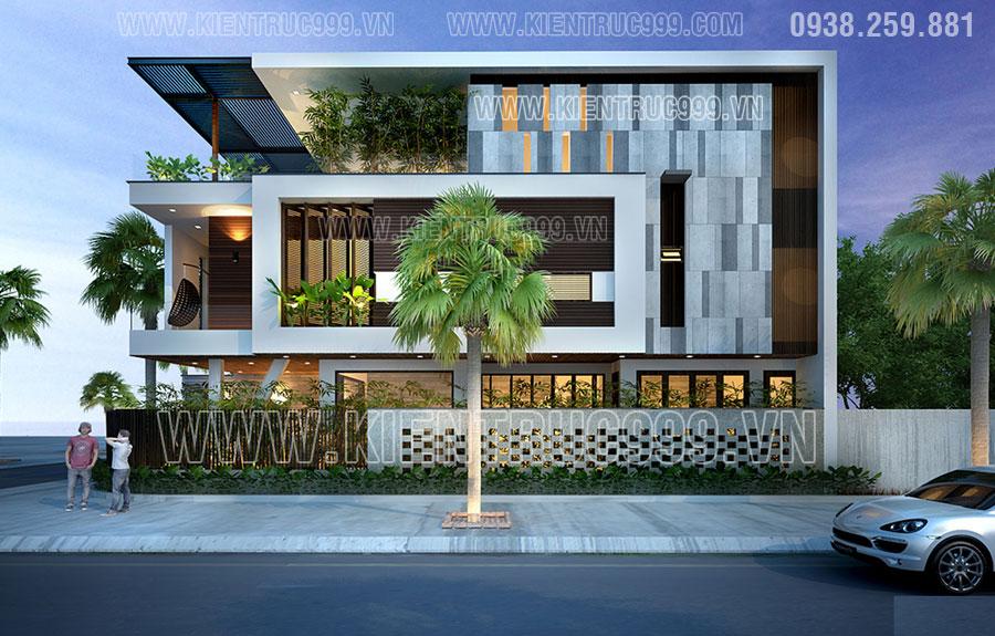 nhà góc đường 2 mặt tiền đẹp thiết kế đơn giản hiện đại 2017