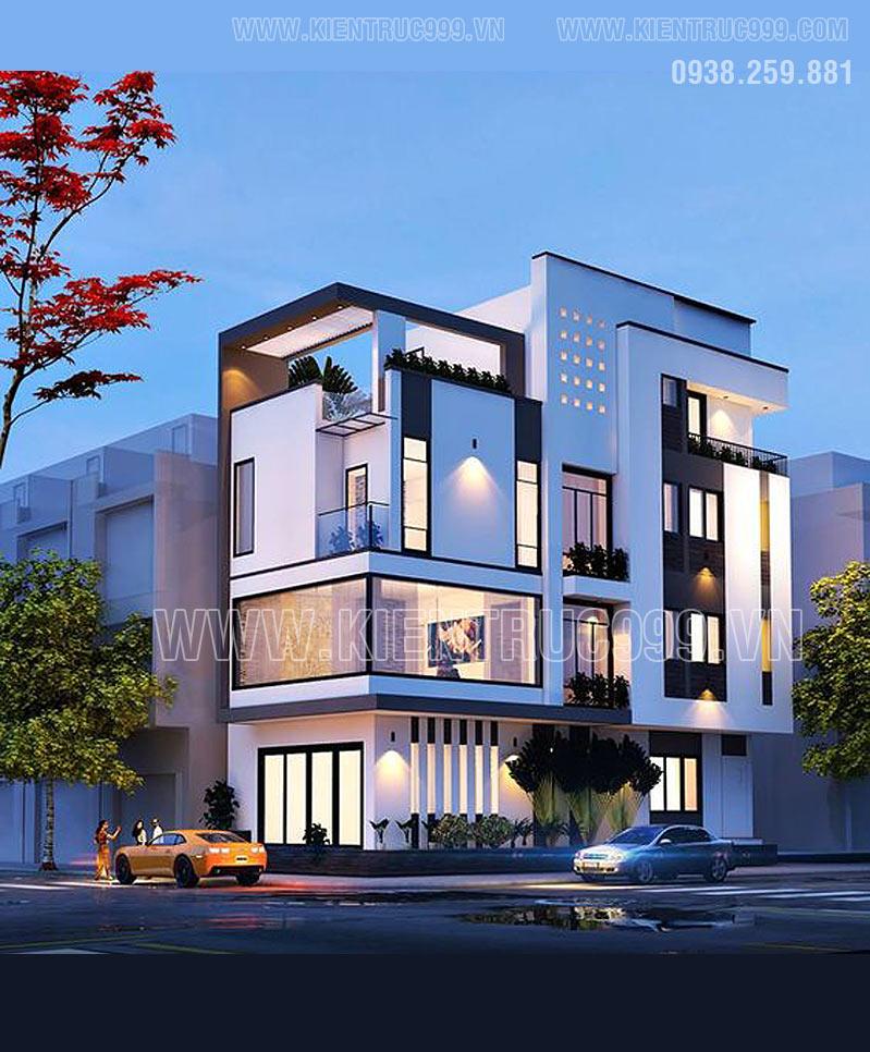 Thiết kế nhà góc phố đẹp có kiến trúc hiện đại mang tới một không gian tươi mới