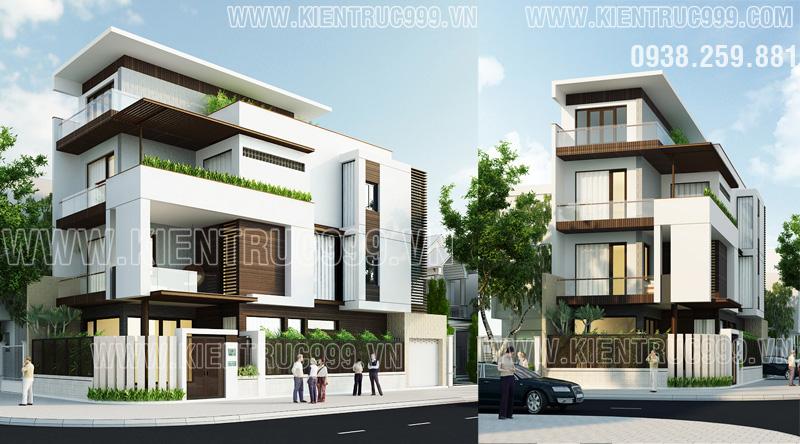 mẫu nhà lô phố 4 tầng kiến trúc hiện đại , hình khối mang nhiều nét lạ