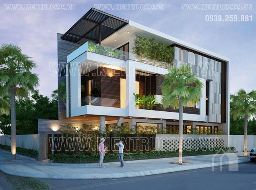 Nhà lô góc 2 mặt tiền có kiến trúc hiện đại mang tới một không gian tươi mới
