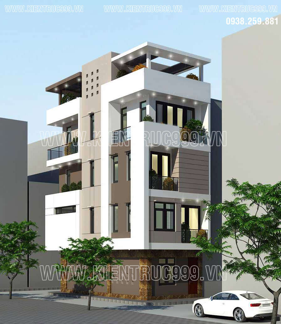 Thiết kế nhà lô góc đẹp 4x12m 5 tầng 2 mặt tiềnc ó đường nét góc cạnh hoàn toàn mới lạ