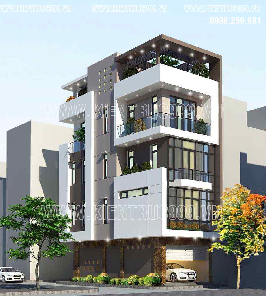 Thiết kế nhà góc đẹp 5 tầng kiến trúc hiện đại đã mang lại vẻ đẹp trẻ trung.