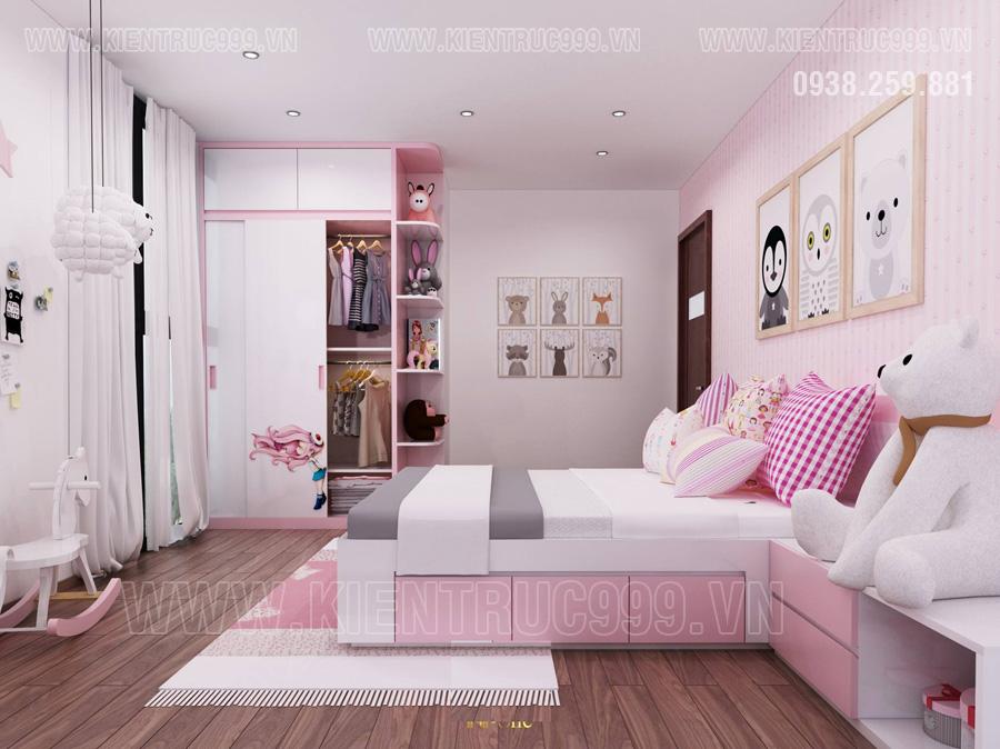 nha dep 3 tang có Phòng ngủ con gái tràn ngập sắc hồng