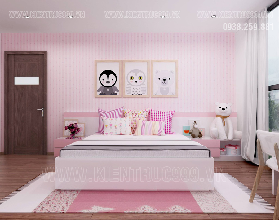 Thiet ke xay nha dep có Phòng ngủ con gái tràn ngập sắc hồng