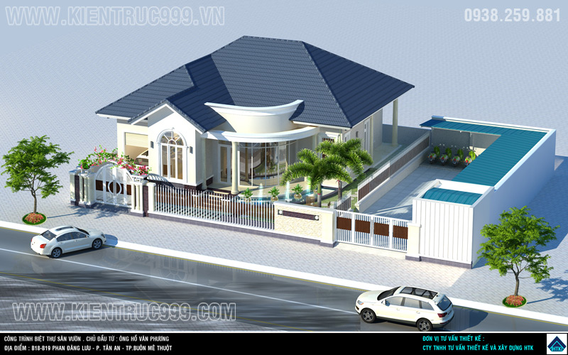 Biệt thự 1 tầng đẹp có nhà xe và nhà bảo vệ được kết hợp hài hòa trong thiết kế