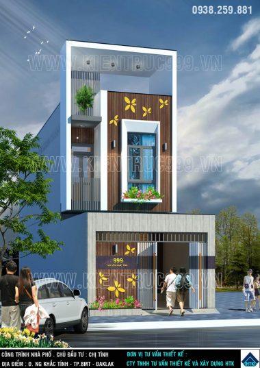 Nhà phố 2 tầng đẹp kích thước 5x18m nổi bật giữa Buôn Mê.