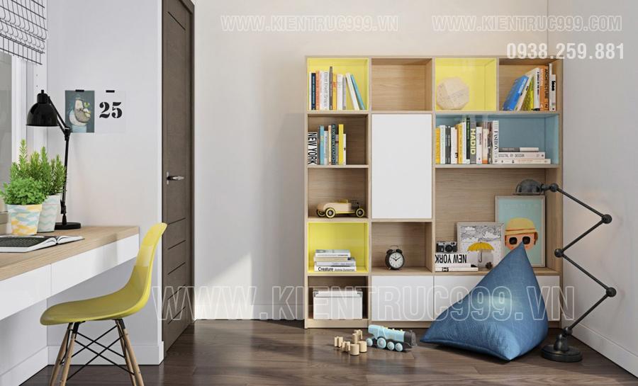 Thiết kế nội thất phòng ngủ con trai đẹp của nhà cấp 4 mái thái Bình Dương.