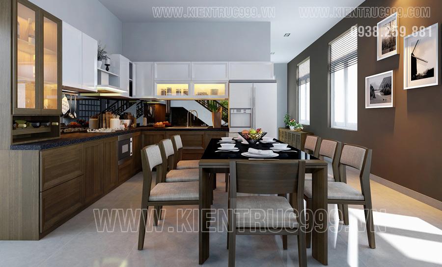 Thiết kế nội thất phòng ăn đẹp của nhà cấp 4 mái thái Bình Dương.