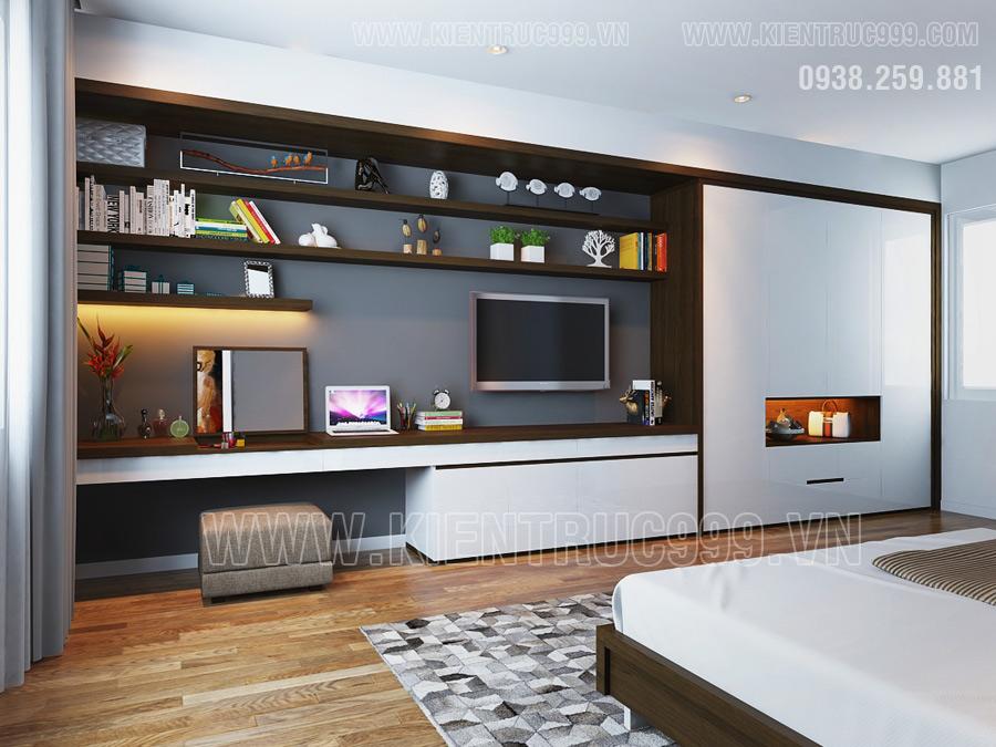 Thiết kế nội thất phòng ngủ đẹp nhất 2017 của nhà cấp 4 mái thái Bình Dương.